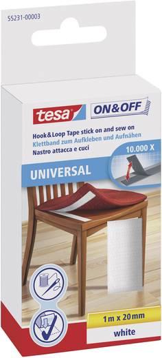 TESA On & Off Klittenband om vast te plakken, om op te naaien Haak- en lusdeel (l x b) 1000 mm x 20 mm Wit 1 stuks