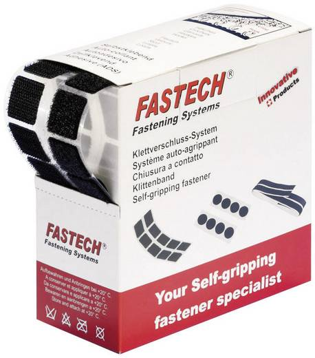 Fastech Klittenband vierkanten om vast te plakken Haak- en lusdeel (l x b) 20 mm x 20 mm Zwart 460 onderdelen