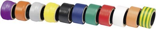 Conrad Components Isolatietape-set Lila, Oranje, Grijs, Geel, Zwart, Blauw, Groen, Rood, Wit, Oranje, Groen-geel (l x b