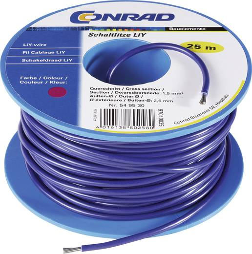Conrad Components 549236 Draad LiY 1 x 1.50 mm² Zwart 25 m