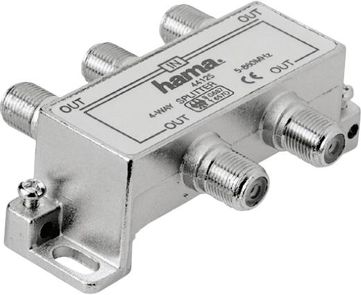 Hama antenneverdeler, breedband-kabelverdeler, uitgang F-koppeling 4x - ingang F-koppeling 1x