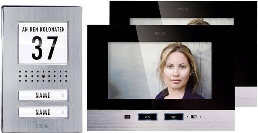 m-e modern-electronics Complete set voor Video-deurintercom Kabelgebonden 2 gezinswoning RVS, Zwart