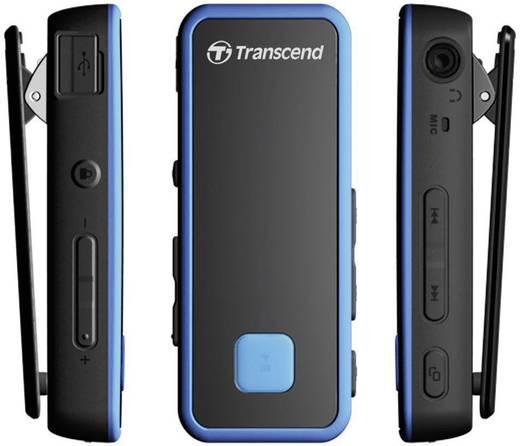 Transcend MP350 MP3-speler 8 GB Zwart, Blauw Bevestigingsclip, spatwaterdicht, Stootvast, Zweetbestendig, Fitnesstracker
