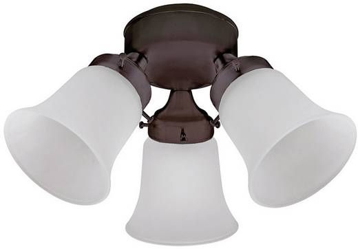 Hunter 3 LIGHT FLUSH MOUNT MA Lamp voor plafondventilator Matglas