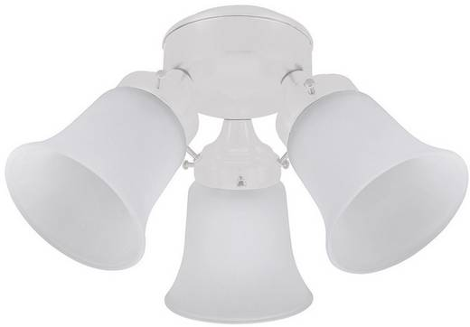 Hunter 3 LIGHT FLUSH MOUNT WE Lamp voor plafondventilator Matglas
