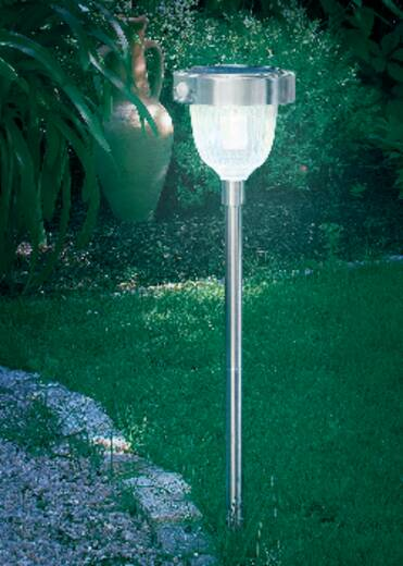 Solar tuinlamp met bewegingsmelder LED 2 W Koud-wit Esotec Asinara 102096 RVS