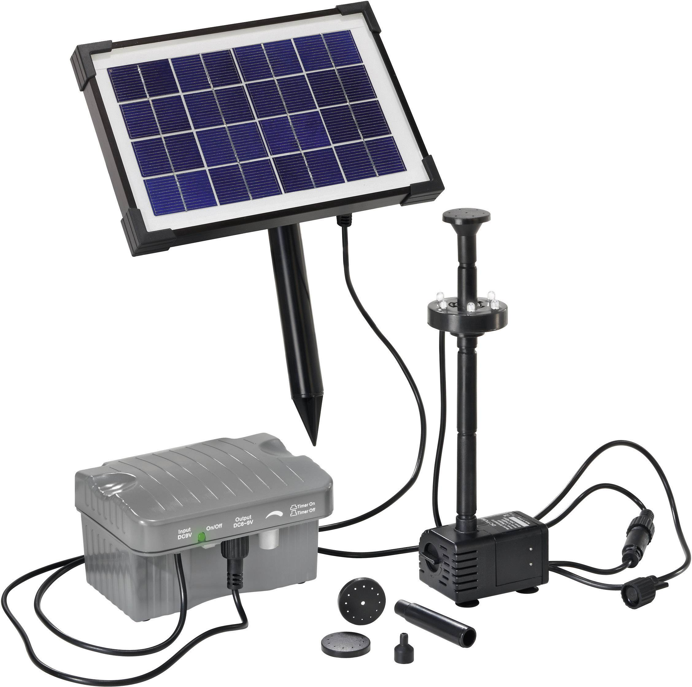 esotec palermo led 101775 pompset op zonne energie met verlichting met accu opslag 330 lh