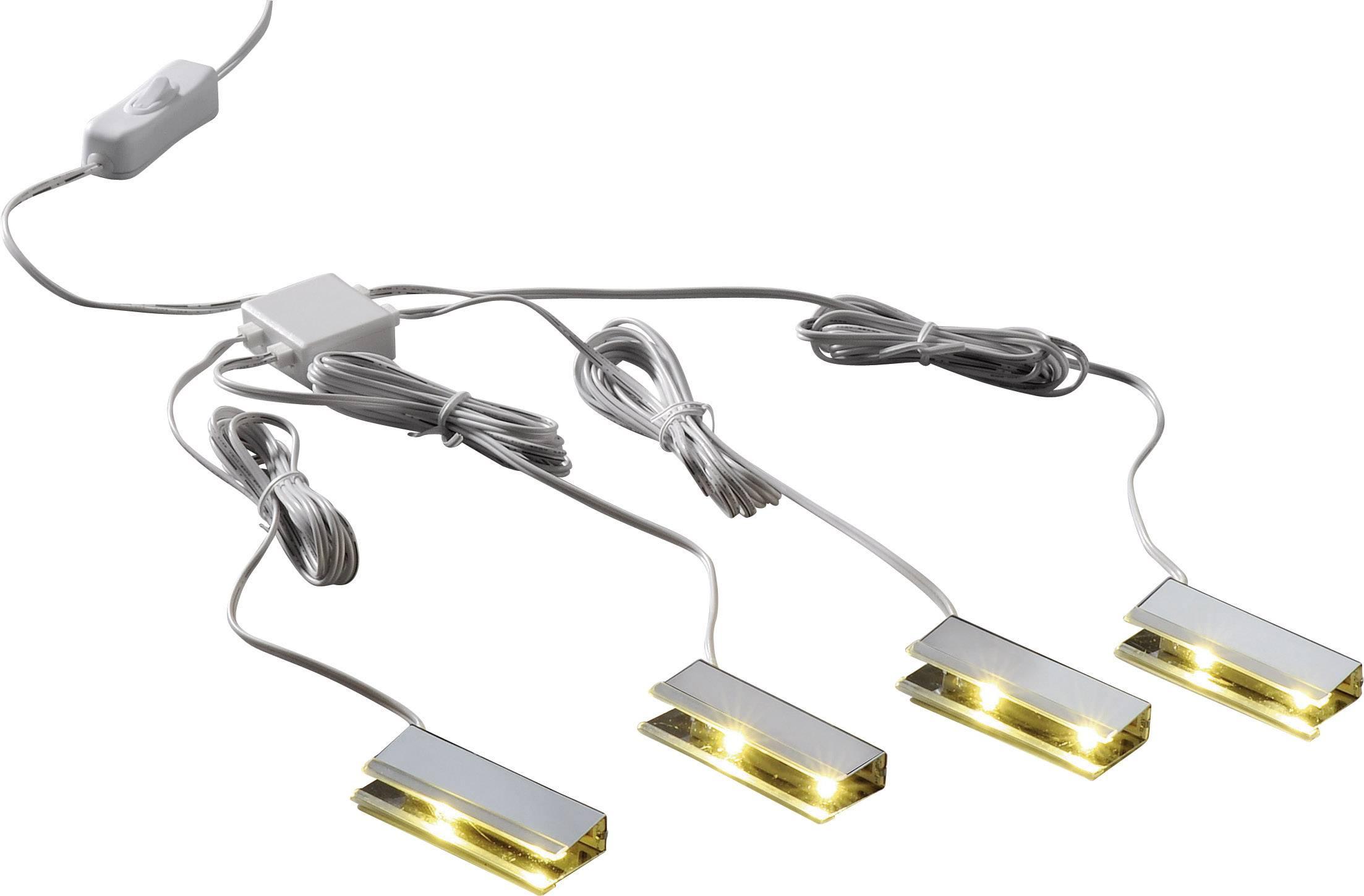 LED-clips verlichting voor glazen schappen, set van 4 stuks, wit ...