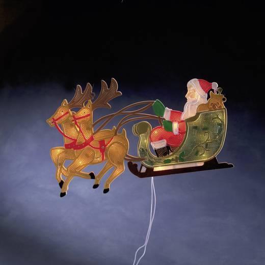 Verlichte decoratie kerstman met rendieren