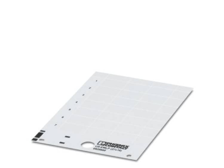 Apparaatmarkering Montagemethode: Plakken Markeringsvlak: 27 x 27 mm Geschikt voor serie Componenten en schakelsystemen Wit Phoenix Contact US-EMLP (27X27)