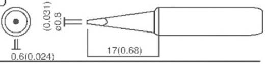 TOOLCRAFT T-0,8D Soldeerpunt Beitelvorm Grootte soldeerpunt 0.8 mm Lengte soldeerpunt 17 mm