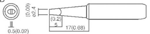TOOLCRAFT T-2,4D Soldeerpunt Beitelvorm Grootte soldeerpunt 2.4 mm Lengte soldeerpunt 17 mm