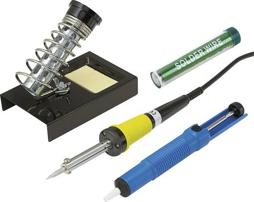 Soldeerboutset 230 V 30 W Basetech ZD-30B Potloodvorm Incl. uitrusting, Incl. soldeertin, Incl. desoldeerzuigpomp, Incl