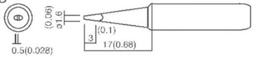 TOOLCRAFT T-1,6D Soldeerpunt Beitelvorm Grootte soldeerpunt 1.6 mm Lengte soldeerpunt 17 mm