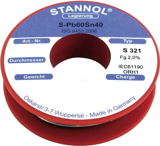 Stannol S321 Soldeertin, loodhoudend Spoel S-Pb60Sn40 250 g 1.0 mm