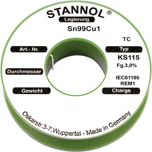 Stannol KS115 Soldeertin, loodvrij Spoel SN99Cu1 100 g 0.3 mm