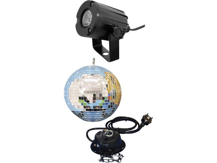 Spiegelbal-set 200 mm met LED-spot Discobal