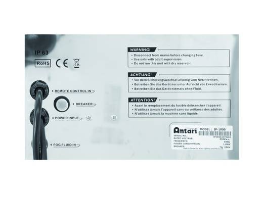Antari IP-1000 Rookmachine Incl. kabelgeboden afstandsbediening