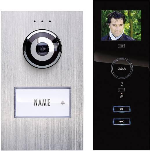 m-e modern-electronics Complete set voor Deurintercom Kabelgebonden 1 gezinswoning Zilver, Zwart