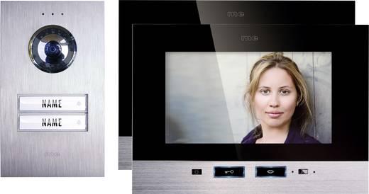 m-e modern-electronics Complete set voor Deurintercom Kabelgebonden 2 gezinswoning Zilver, Zwart