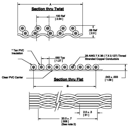 3M 80-6107-9069-5 Lintkabel Rastermaat: 1.27 mm 20 x 0.08 mm² Bont Per meter