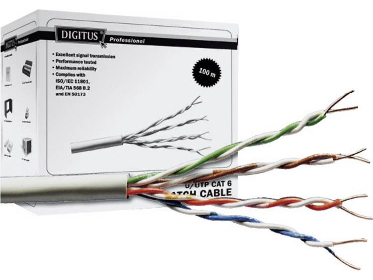 Digitus Professional DK 1611 P 1 Netwerkkabel CAT 6 U UTP 4 x 2 x 0.20 mm² Grijs