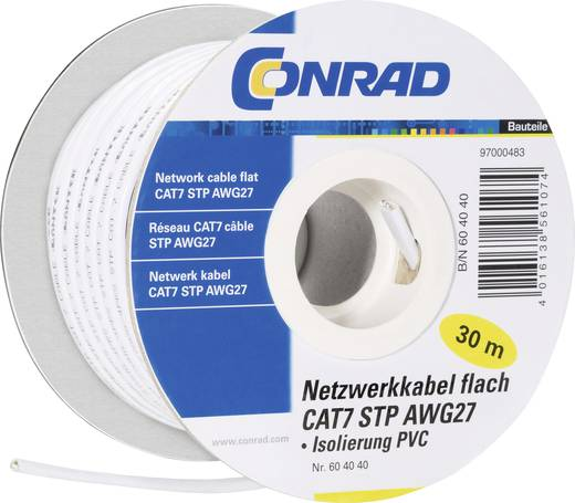 Conrad Components 604040 Netwerkkabel CAT 7 U/FTP 4 x 2 x 0.11 mm² Wit 30 m