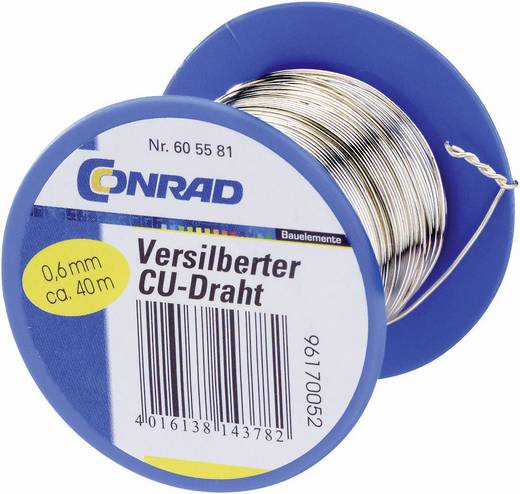 Conrad Components 1516008/100 Koperdraad Verzilverd 1 x 100 m