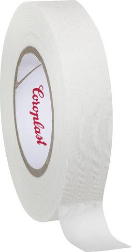 Coroplast 44224 Textieltape Wit (l x b) 10 m x 15 mm Rubber Inhoud: 1 rollen