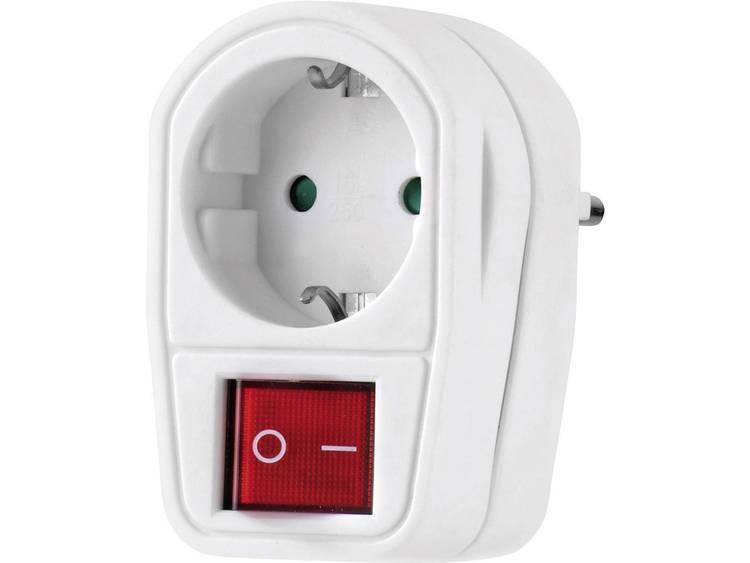 Renkforce 1173536 Stekkeradapter met schakelaar wit 2-polig Wit