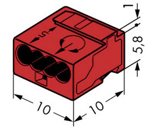 WAGO Lasklem Flexibel: 0.6- Massief: -0.8 mm² Aantal polen: 4 1 stuks Rood