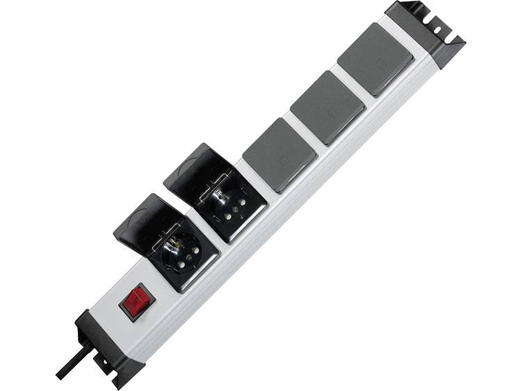 Kopp 227320017 Stekkerdoos 19 inch 5-voudig 1.4 m Geaarde stekker Zilver, Zwart