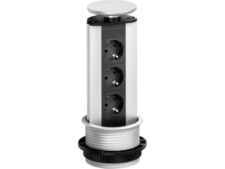 Schulte Elektrotechnik 93100313 Stekkerdoostoren Evoline Evoline Port 3-voudig met LED Zwart-zilver
