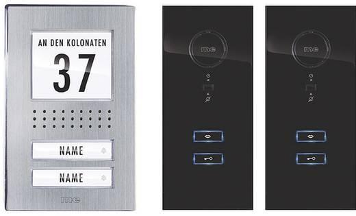 m-e modern-electronics ADV 122 SS Complete set voor Deurintercom Kabelgebonden 2 gezinswoning RVS, Zwart