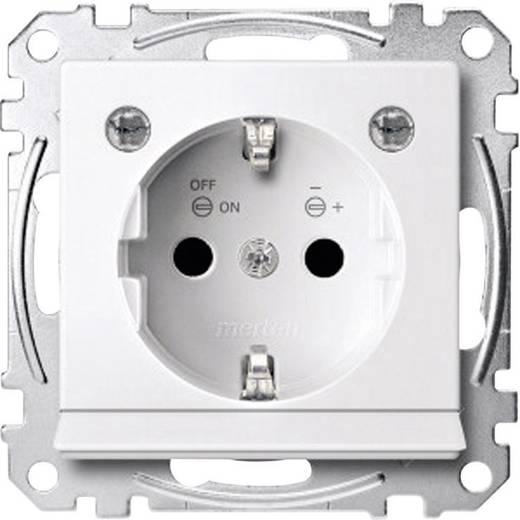 Merten MEG2304-0319 Geaard stopcontact met opening voor LED Polar-wit glanzend