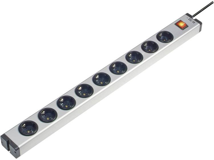 Ehmann 0601x00092031 Stekkerdoos met schakelaar 9-voudig 1.5 m Geaarde stekker Aluminium