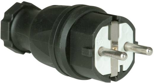 Stekker met randaarde Rubber 230 V Zwart IP44 PCE 0521-s
