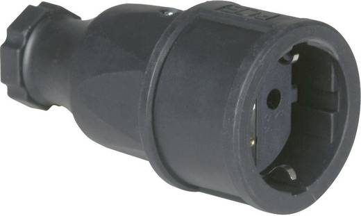 Koppeling met randaarde Rubber 230 V Zwart IP20 PCE 2520-s