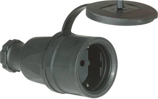 Koppeling met randaarde Massief rubber 230 V Zwart IP44 PCE 2521-s