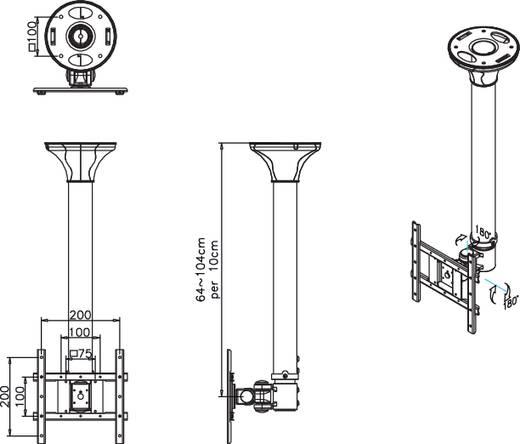 "NewStar Products FPMA-C200 TV-plafondbeugel 25,4 cm (10"") - 101,6 cm (40"") Kantelbaar en zwenkbaar, Roteerbaar"