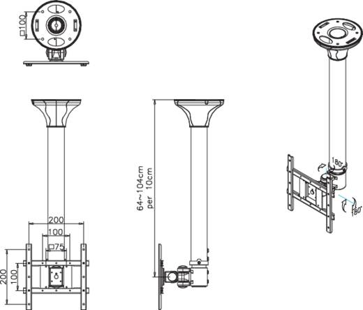 "TV-plafondbeugel NewStar Products FPMA-C200BLACK 25,4 cm (10"") - 101,6 cm (40"") Kantelbaar en zwenkbaar, Roteerbaar"