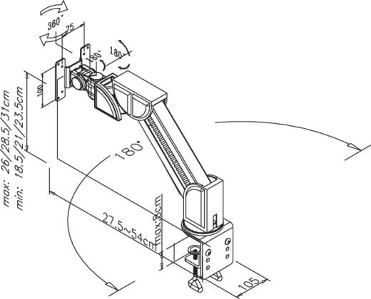 "Monitor-tafelbeugel NewStar Products FPMA-D600BLACK 25,4 cm (10"") - 76,2 cm (30"") Kantelbaar en zwenkbaar, Roteerbaar"