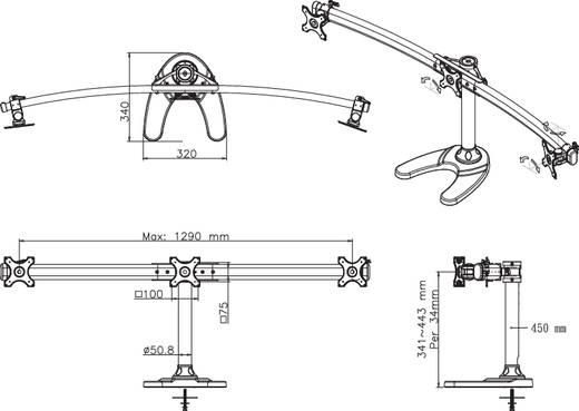 """3-voudig Monitorvoet 25,4 cm (10"""") - 68,6 cm (27"""") Zwenkbaa"""