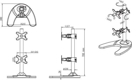 """Monitorvoet 25,4 cm (10"""") - 68,6 cm (27"""") Kantelbaar en zwenkbaar, Roteerbaar NewStar Products FPMA-D700DDV In hoogte verstelbaar"""