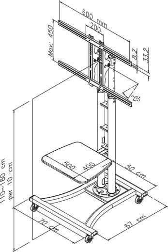 """NewStar Products PLASMA-M1800E TV-kast op wieltjes 68,6 cm (27"""") - 177,8 cm (70"""") Kantelbaar"""