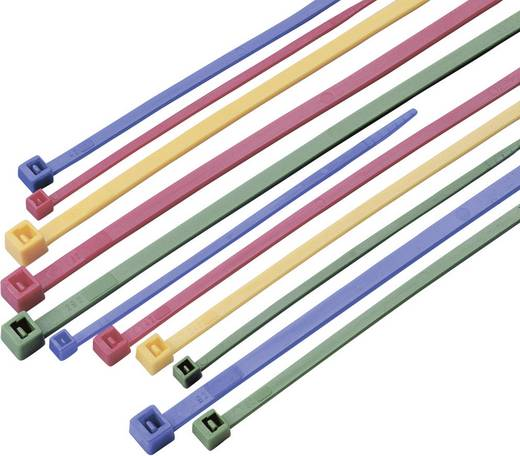Conrad Components 541670 Assortiment kabelbinders 300 mm Groen, Rood, Blauw, Geel 100 stuks