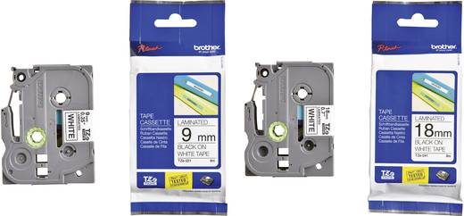 Brother TZe-221 + TZe-241 Labeltape Set van 2 Tapekleur: Wit Tekstkleur:Zwart 9 mm, 18 mm 8 m