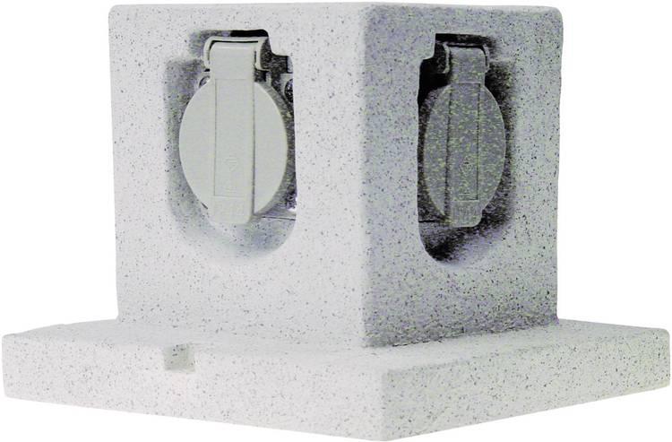 Smartwares GL40 Tuinstekkerdoos 4-voudig Steen-grijs