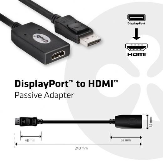 Adapter DisplayPort / HDMI [1x DisplayPort stekker - 1x HDMI-bus] Zwart club3D