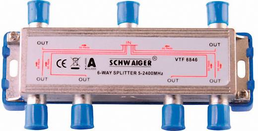 Schwaiger VTF8846 antenneverdeler Breedband-kabelverdeler, F-stekker, 6-voudig, 14 dB